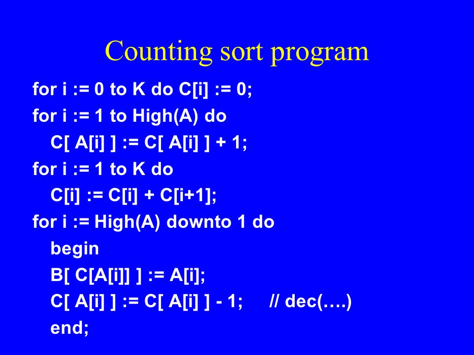 Counting sort program for i := 0 to K do C[i] := 0;